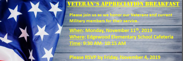 Veteran's Appreciation Breakfast- November 11