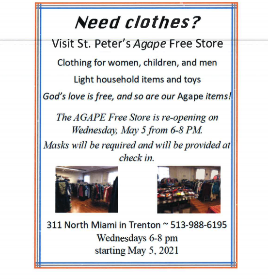 The St. Peter's AGAPE Free Store is re-opening Wednesday, May 5 th