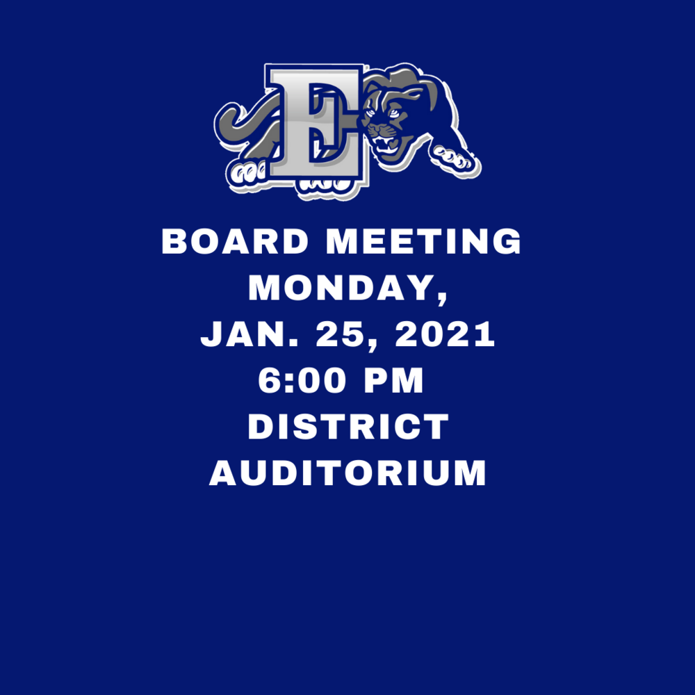 Next BOE Meeting - Monday, January 25th