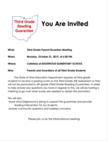 Attention 3rd Grade Parents: 3rd Grade Reading Guarantee Meeting