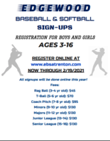 Edgewood Baseball & Softball Association Registration Information