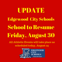 Schools Re-open on Friday, August 30