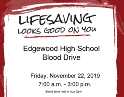 Attention All Edgewood Staff: Blood Drive- November 22
