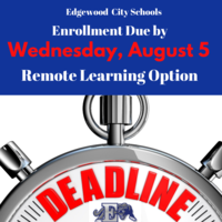 Enrollment for the Remote Learning Option Due by Wednesday, August 5th