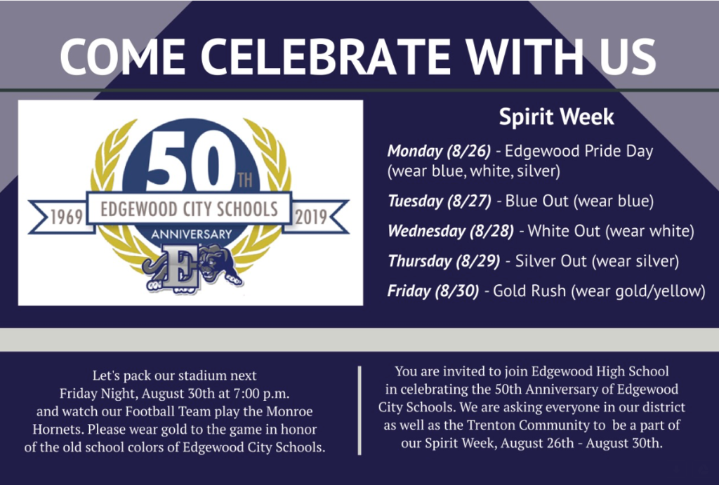Community Spirit Week invitation with 50th Anniversary logo