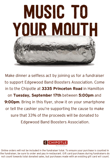 Flyer for Band Booster Fundraiser at Chipotle on Sept. 17