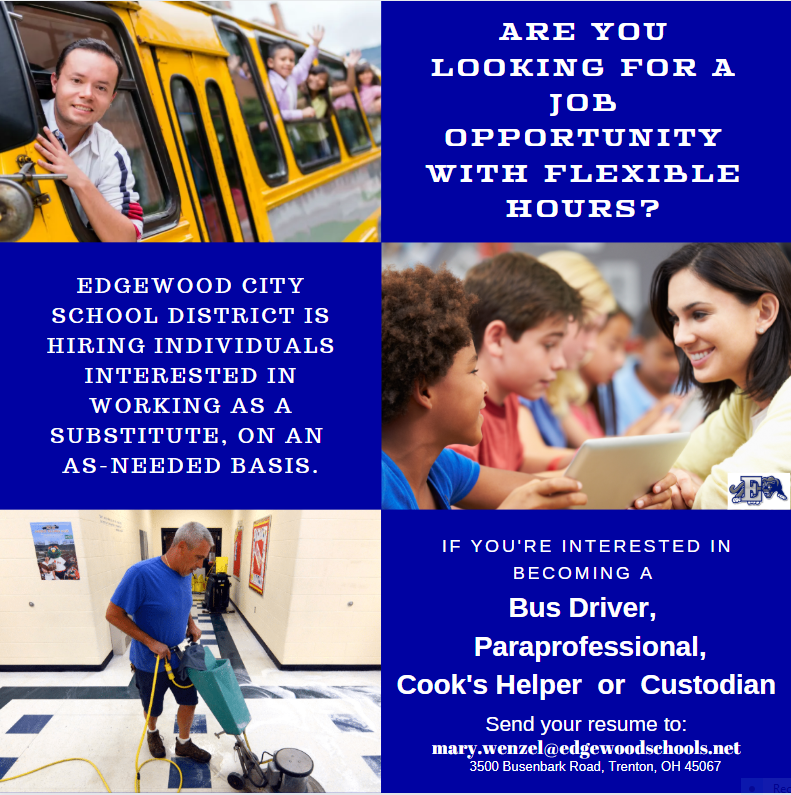 Now Hiring graphic for Edgewood City Schools