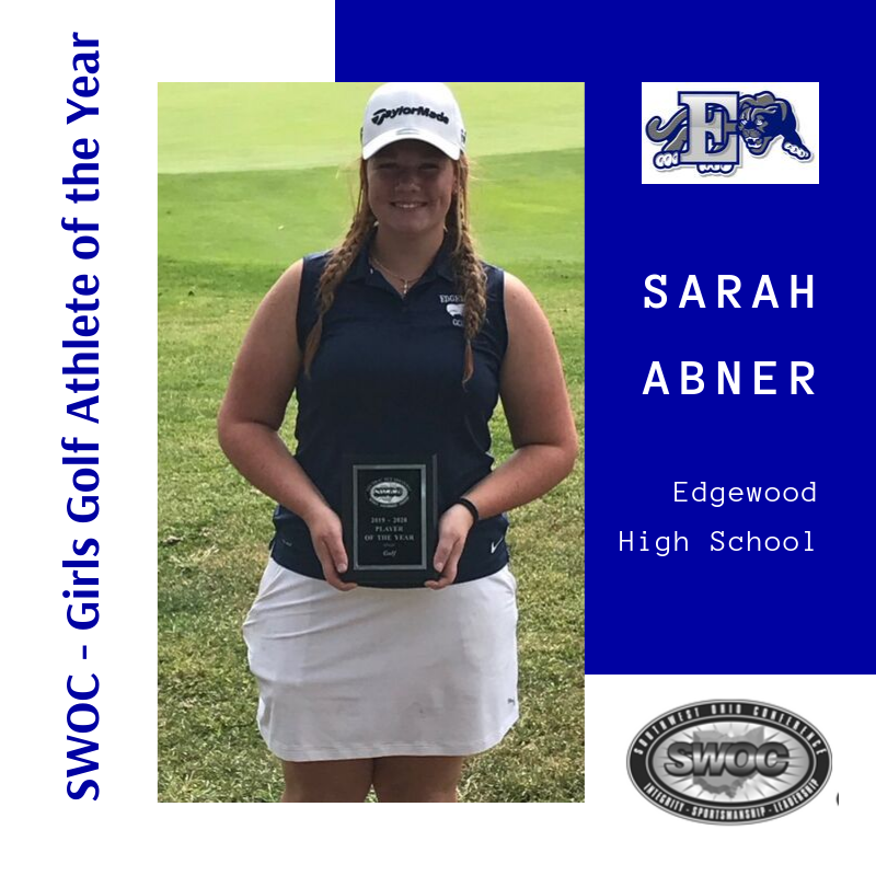 Sarah Abner with plaque for SWOC Athlete of the Year for Girls Golf