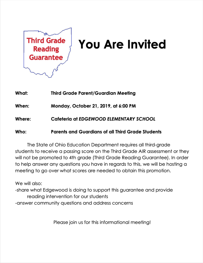 Third Grade Reading Guarantee Meeting Flyer
