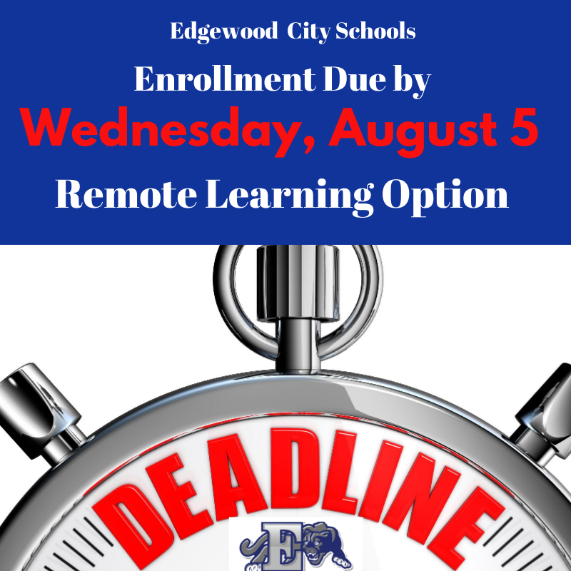Enrollment deadline for Remote Learning graphic