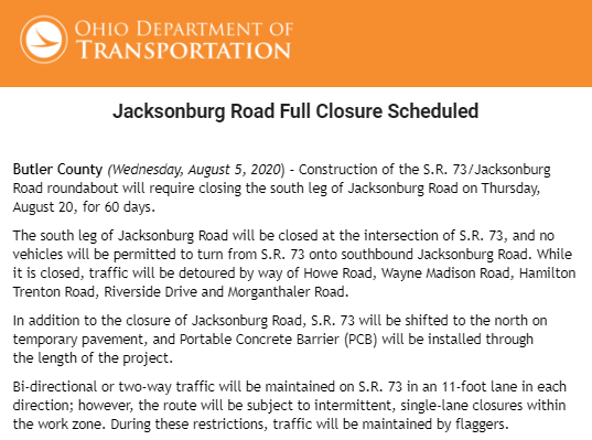 Jacksonburg Road Full Closure Scheduled announced