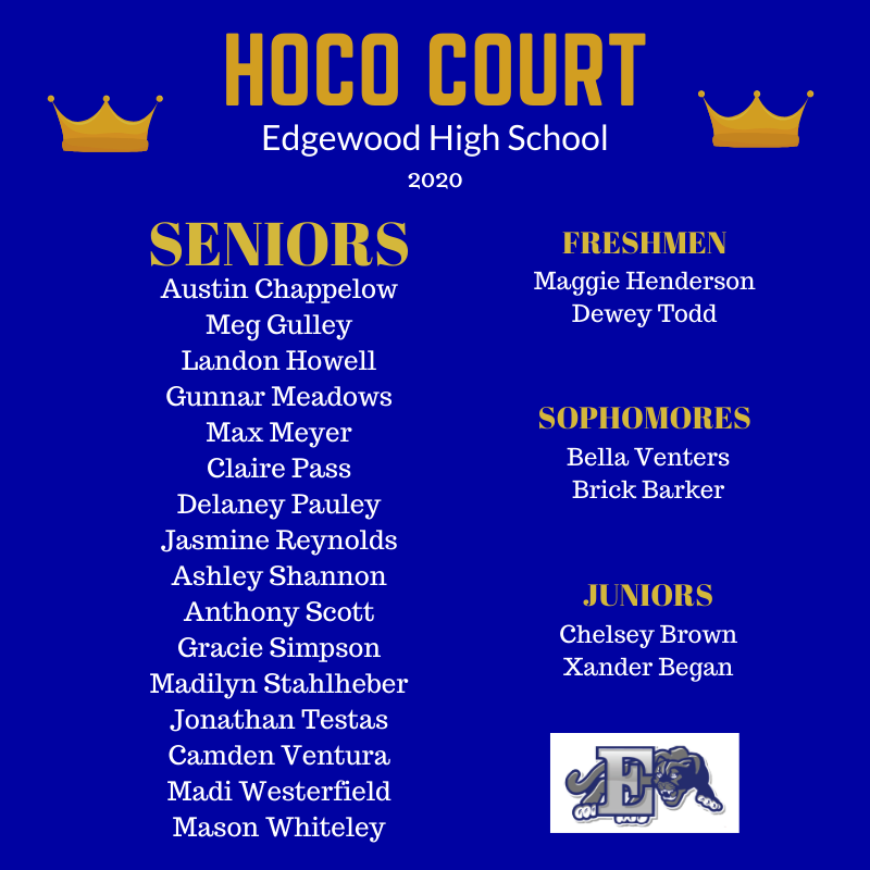 2020 Homecoming Court Members