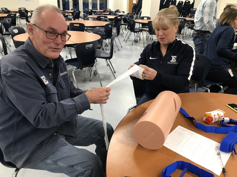 Staff members in Stop the Bleed training